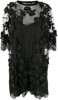Amen sequin floral appliqué dress