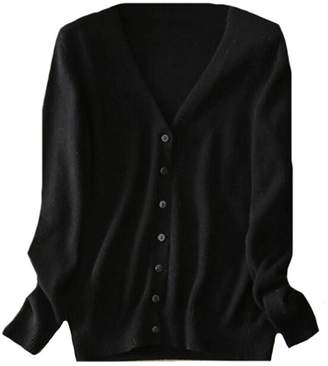 CFD Womens Classic V-Neck Button Down Cashmere Cardigan Sweater L