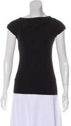 Philosophy di Alberta Ferretti Zipper-Accented Short Sleeve Top