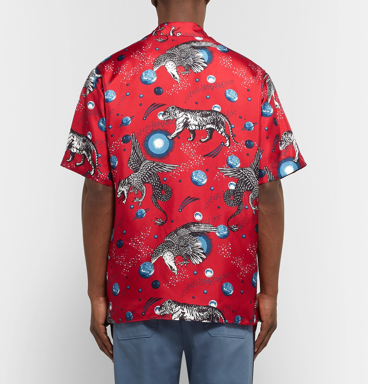 Gucci Space Animals Camp-Collar Printed Silk-Twill Shirt 2