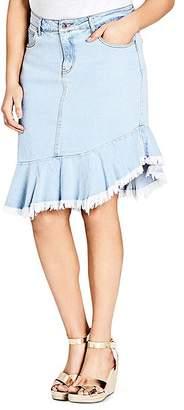 City Chic Plus Asymmetric Frayed Hem Denim Skirt