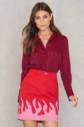 NA-KD Na Kd Pink Flame Denim Skirt Red