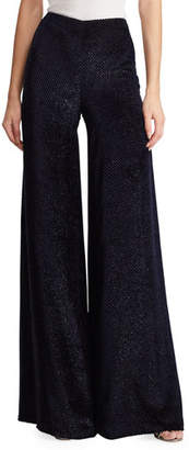 Ralph Lauren Daria Dream Velvet Fil Coupe Palazzo Pants