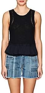 Derek Lam 10 Crosby Women's Knit Cotton-Blend Peplum Shell-Black