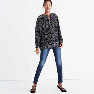 Lace-Up Peasant Top in Caravan Print $110 thestylecure.com