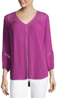 Liz Claiborne 3/4 Sleeve V Neck Crepon Blouse