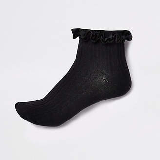 River Island Black velvet cable knit frill ankle socks