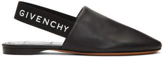 Givenchy Black Elastic Logo Slippers