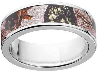 Mossy Oak Pink Break Up Women's Camo 7mm Stainless Steel Wedding Band with Polished Edges and Deluxe Comfort Fit