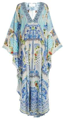 Camilla A Night To Remember Silk Maxi Kaftan - Womens - Blue Multi