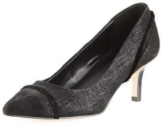 Donald J Pliner Floe Frayed Kitten-Heel Pump, Black