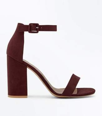 9c5b2432a0954b New Look Burgundy Suedette Ankle Strap Block Heels
