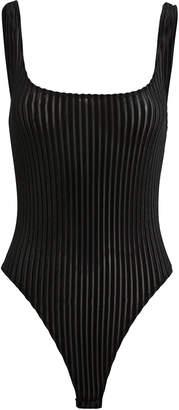Only Hearts Velvet Rib Black Bodysuit