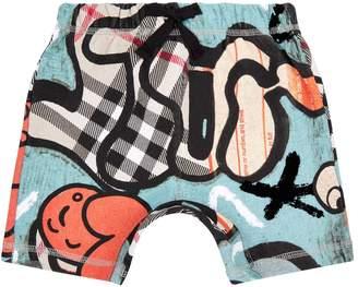 Burberry Graffiti Check Sweat Shorts