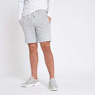 River Island Grey marl embroidered slim fit jersey shorts