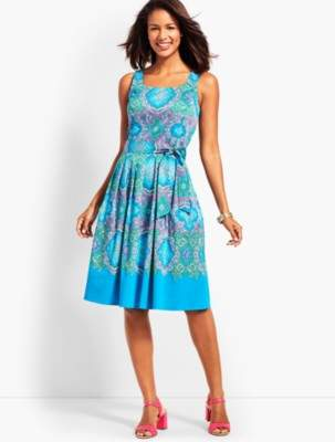 Talbots Retro Paisley Fit-and-Flare Dress