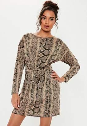 Missguided Brown Tie Waist Snake Print T Shirt Dress