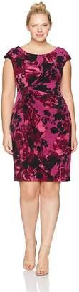 Connected Apparel Women's Plus Size Side Drape Floral Jersey Dress