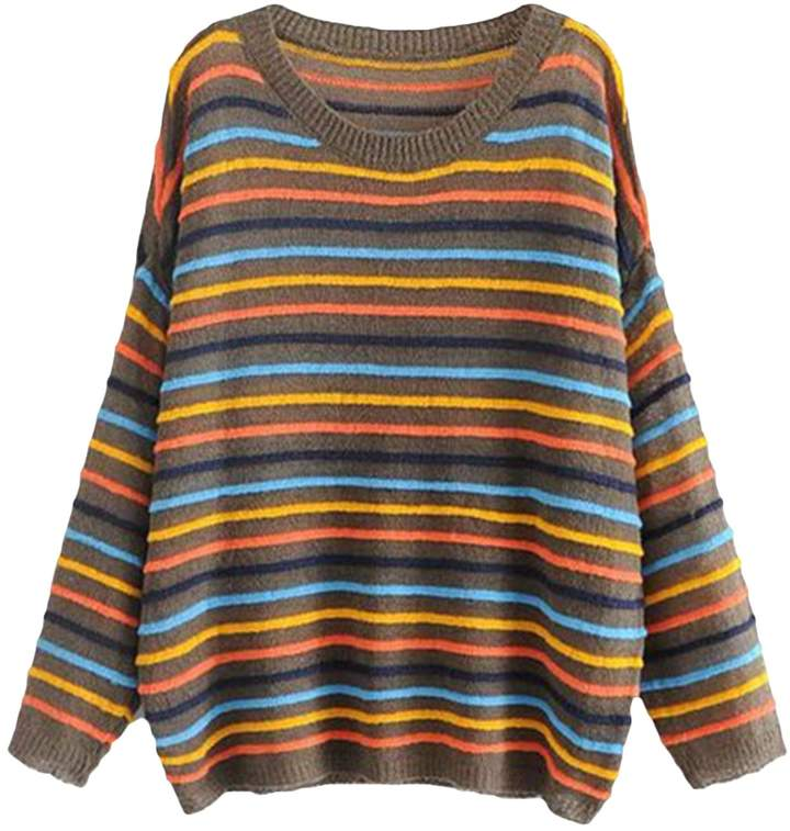 Goodnight Macaroon 'Cindy' Colourful Striped Crew Neck Sweater (2 Colors)