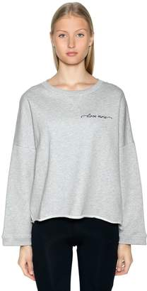 Logo Detail Crop Cotton Sweatshirt