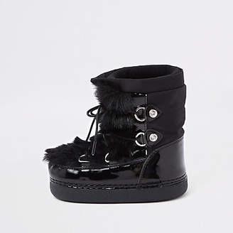 River Island Mini girls black faux fur trim snow boots