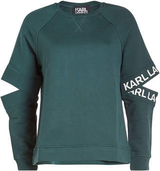 Karl Lagerfeld Paris Cotton Sweatshirt with Cut-Out Detail