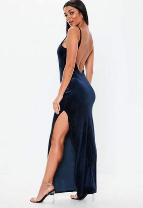 Missguided Navy Velvet Strappy Square Neck Maxi Dress