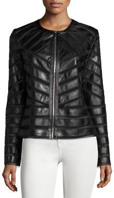 Bagatelle Faux-Leather Striped Jacket, Black $126 thestylecure.com