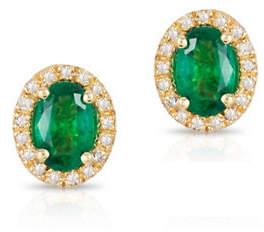 Effy 14K Yellow Gold Emerald Earrings with 0.013 TCW Diamonds