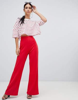 Missguided wide leg PANTS in red