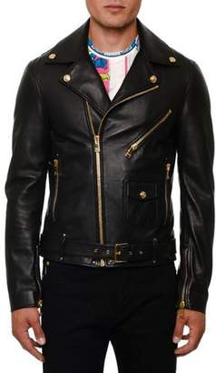 Versace Men's Leather Biker Jacket