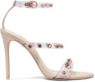 Sophia Webster Rosalind Crystal-embellished Pvc And Leather Sandals - Neutral