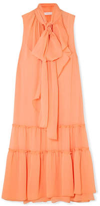 See by Chloe Pussy-bow Tiered Crepon Dress - Orange