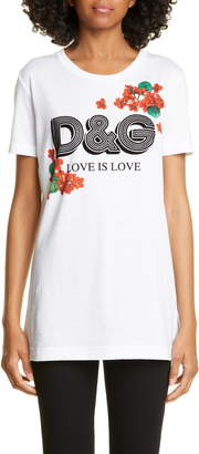 Dolce & Gabbana Love Is Love Floral Print Tee