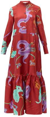 La DoubleJ Floral Print Silk Shirtdress - Womens - Red Multi