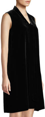 Lafayette 148 New York Ronan Sleeveless Tie-Neck Velvet Dress