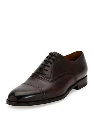 Bally Leather Cap-Toe Oxford Dress Shoe, Brown
