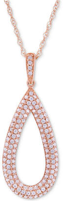 Wrapped in Love Diamond Pave Teardrop Pendant Necklace (1/2 ct. t.w.) in 14k Rose Gold
