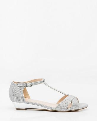 Le Château Glitter Mesh T-Strap Wedge Sandal