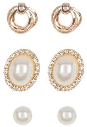 Loren Olivia Imitation Pearl Stud Earrings - Set of 3