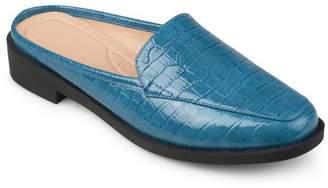 Co Brinley Women's Faux Patent Square Toe Comfort-sole Croc Pattern Slide Mules