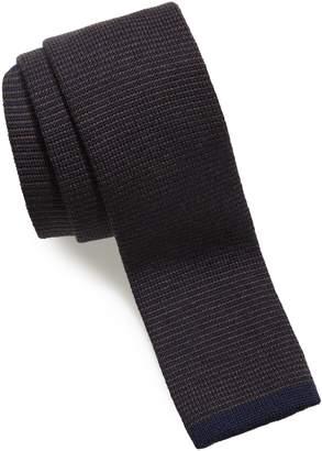 Eleventy Stripe Wool Skinny Tie
