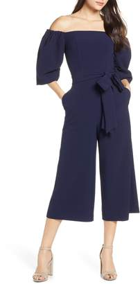 Chelsea28 Puff Sleeve Off the Shoulder Jumpsuit