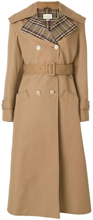 Gucci butterfly appliqué gabardine trench coat