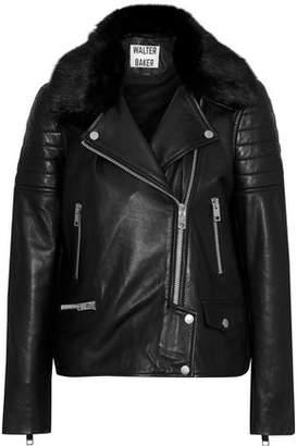 Walter W118 By Baker Ruby Faux Fur-Trimmed Leather Biker Jacket