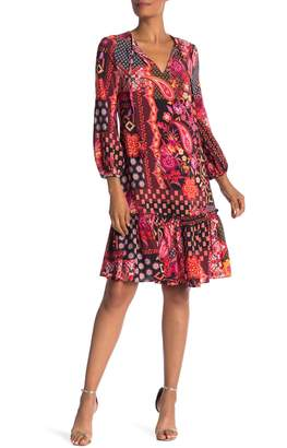 Trina Turk Jaine Split V-Neck Print Silk Dress