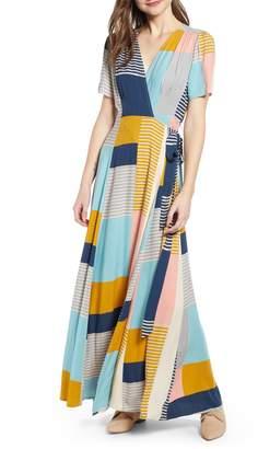 THE ODELLS Colorblock Pattern Mix Faux Wrap Maxi Dress