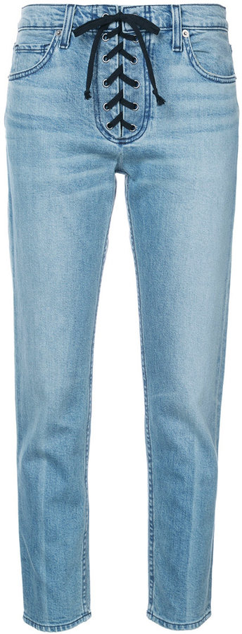 A.L.C. lace-up detail skinny jeans