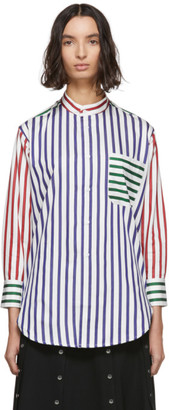 Charles Jeffrey Loverboy White Striped Colorblock Shirt