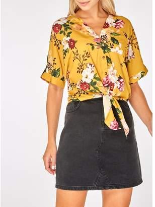 Dorothy Perkins Ochre Floral Print Button Tie T-Shirt